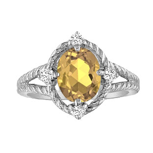Oval Cut Citrine Diamond White Gold Braided Ring
