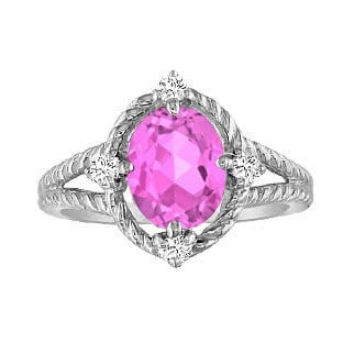 Oval Cut Pink Sapphire Diamond White Gold Braided Ring
