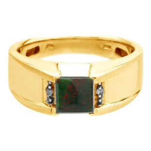 Diamond and Square Bloodstone Men's Yellow Gold Ring