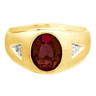Diamond and Oval Garnet Gemstone Men's Yellow Gold Ring