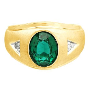 Diamond and Oval Green Tourmaline Gemstone Men's Yellow Gold Ring