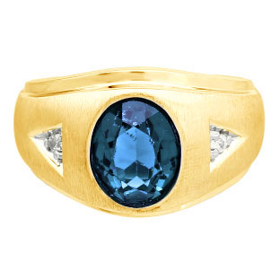 Diamond and Oval London Blue Topaz Gemstone Men's Yellow Gold Ring