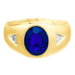 Diamond and Oval Sapphire Gemstone Men's Yellow Gold Ring