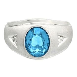 Diamond and Oval Blue Topaz Gemstone Men's White Gold Ring