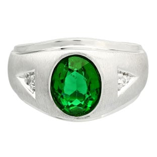 Diamond and Oval Emerald Gemstone Men's White Gold Ring