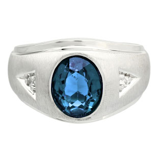 Diamond and Oval London Blue Topaz Gemstone Men's White Gold Ring