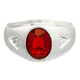Diamond and Oval Ruby Gemstone Men's White Gold Ring