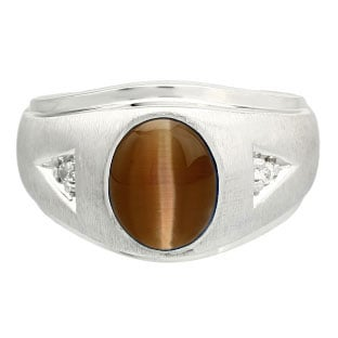 Diamond and Oval Brown Cat Eye Gemstone Men's White Gold Ring