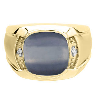 Big Men's Diamond Cushion Cut Cats Eye Yellow Gold Ring