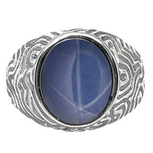 Oval-Cut Blue Star Sapphire Men's Sterling Silver Antiqued Waves Ring