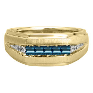 Men's London Blue Topaz and Diamond Yellow Gold Ring