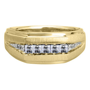 Men's White Topaz and Diamond Yellow Gold Ring