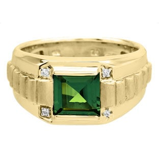 Men's Square Green Tourmaline Gemstone Diamond Yellow Gold Ring