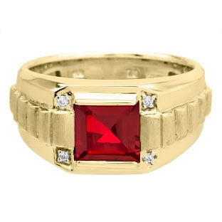 Men's Square Ruby Gemstone Diamond Yellow Gold Ring