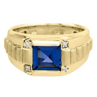Men's Square Sapphire Gemstone Diamond Yellow Gold Ring