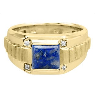 Men's Square Denim Lapis Gemstone Diamond Yellow Gold Ring