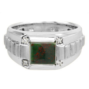 Men's Square Bloodstone Gemstone Diamond White Gold Ring