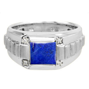 Men's Square Blue Lapis Gemstone Diamond White Gold Ring