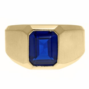 Emerald-Cut Sapphire Gemstone Custom Ring For Men In Yellow Gold