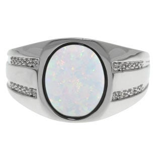 Oval-Cut Opal and Diamond Men's Ring In White Gold