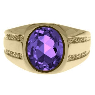 Oval-Cut Amethyst and Diamond Men's Ring In Yellow Gold