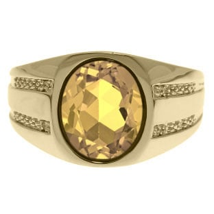Oval-Cut Citrine and Diamond Men's Ring In Yellow Gold
