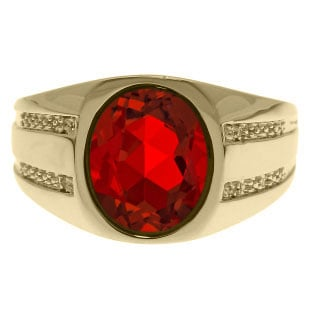 Oval-Cut Ruby and Diamond Men's Ring In Yellow Gold