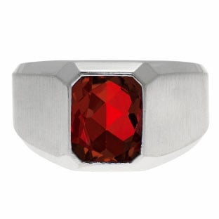 Emerald-Cut Garnet Gemstone Custom Ring For Men In White Gold