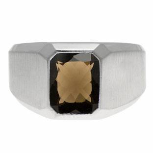 Emerald-Cut Smoky Quartz Gemstone Custom Ring For Men In White Gold