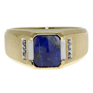 Diamond and Emerald Cut Lapis Gemstone Men's Ring In Yellow Gold