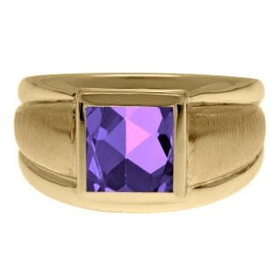 Yellow Gold Men's Square Amethyst Ring