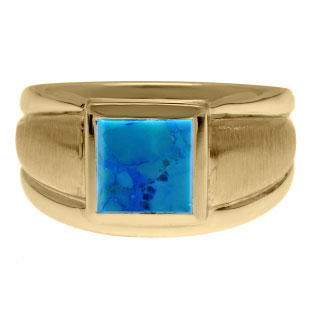 Yellow Gold Men's Square Turquoise Ring