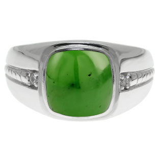 Cushion-Cut Jade Gemstone and Diamond Men's Ring In White Gold