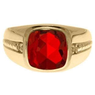 Cushion-Cut Ruby Gemstone and Diamond Men's Ring In Yellow Gold