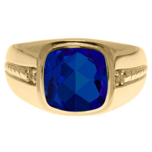Cushion-Cut Sapphire Gemstone and Diamond Men's Ring In Yellow Gold