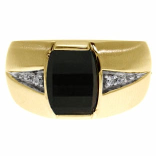 Custom Made Men's Barrel Cut Black Onyx Gemstone Diamond Ring In Yellow Gold