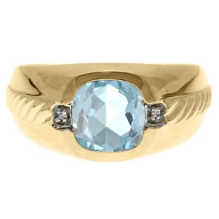 Men's Aquamarine and Diamond Accent Ring In Yellow Gold