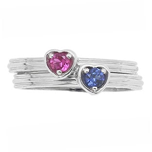 Custom Birthstone Stackable Ring In White Gold