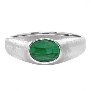 East-West Oval Cut Malachite White Gold Pinky Ring For Men