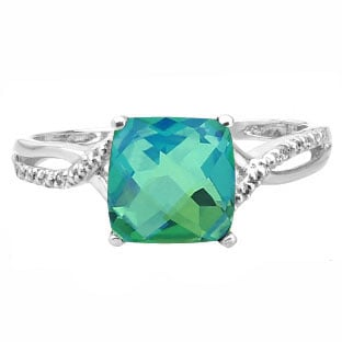 White Gold Cushion-Cut Caribbean Quartz Diamond Ring Jewelry
