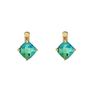 Yellow Gold Caribbean Quartz Gemstone Cushion-Cut Diamond Earrings