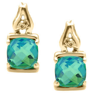 Simple Cushion Cut Caribbean Quartz Diamond Yellow Gold Earrings Jewelry