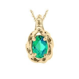 Diamond Oval Caribbean Quartz Yellow Gold Pendant
