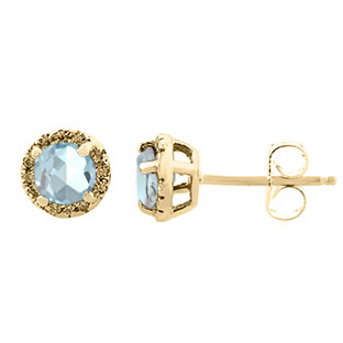 Aquamarine Gemstone Diamond Halo Stud Earrings In Yellow Gold