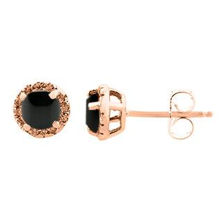 Black Onyx Gemstone Diamond Halo Stud Earrings In Rose Gold