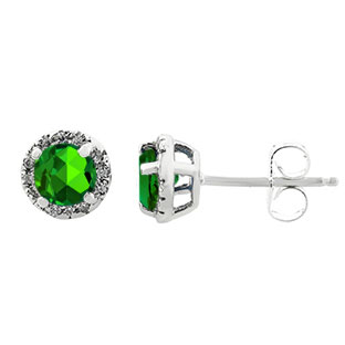 Emerald Gemstone Diamond Halo Stud Earrings In White Gold