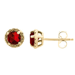 Garnet Gemstone Diamond Halo Stud Earrings In Yellow Gold