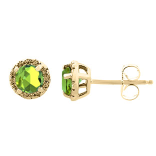 Peridot Gemstone Diamond Halo Stud Earrings In Yellow Gold