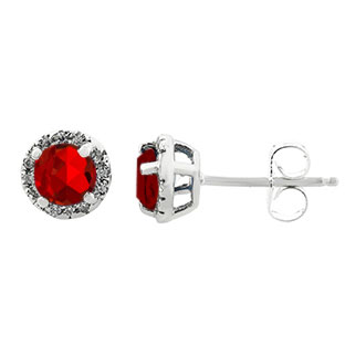 Ruby Gemstone Diamond Halo Stud Earrings In White Gold