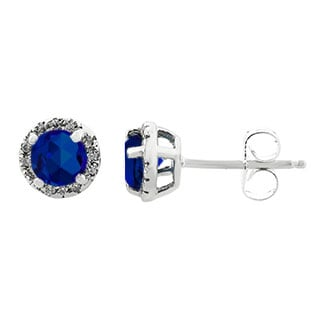 Blue Sapphire Gemstone Diamond Halo Stud Earrings In White Gold